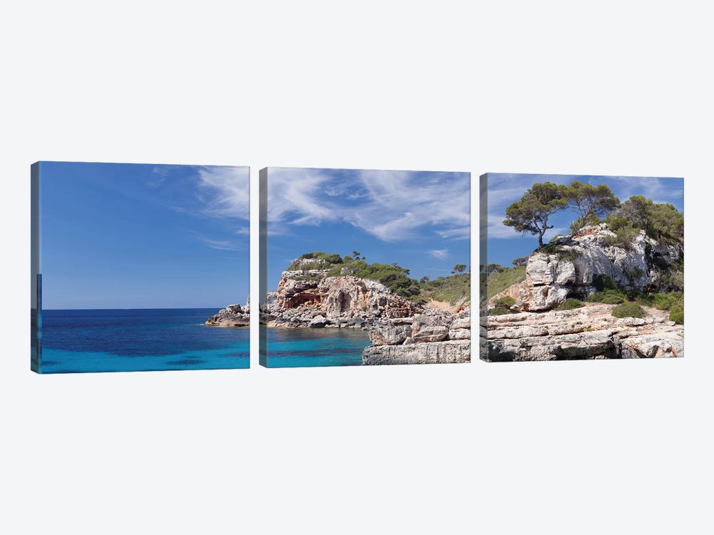 Cala s'Almunia Bay, Santanyi, Majorca, Balearic Islands, Spain by Panoramic Images 3-piece Canvas Art