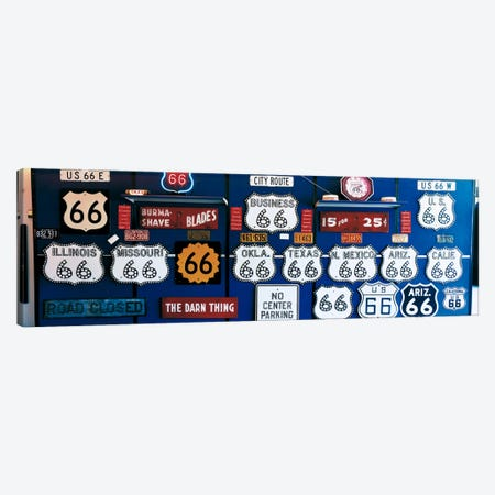 Route 66 Sign Collection Canvas Print #PIM139} by Panoramic Images Canvas Artwork