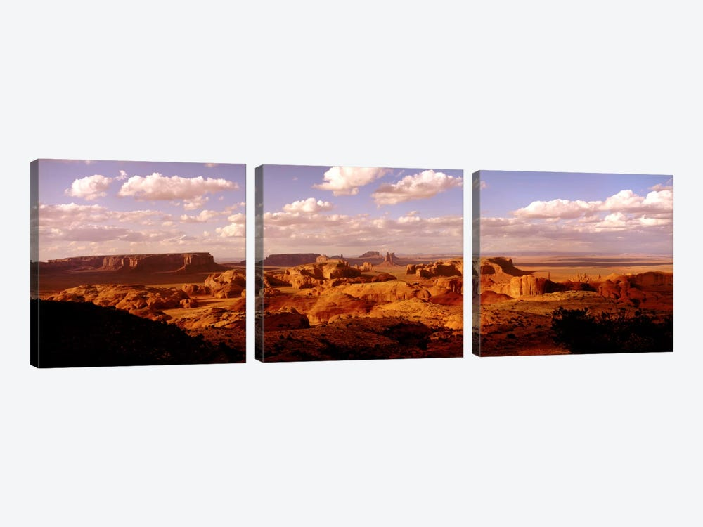 Hunts Mesa, Monument Valley, Navajo Nation, Arizona, USA by Panoramic Images 3-piece Canvas Art