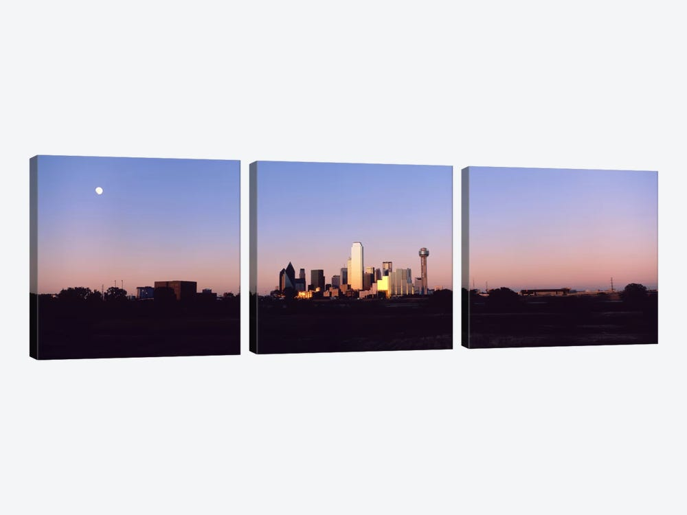 Sunset Skyline Dallas TX USA by Panoramic Images 3-piece Canvas Art