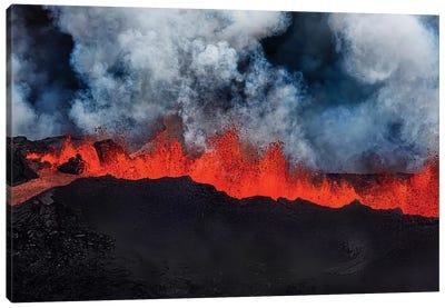 Eruption Fissure Splatter Fountains I, Holuhraun Lava Field, Sudur-Bingeyjarsysla, Nordurland Eystra, Iceland Canvas Art Print