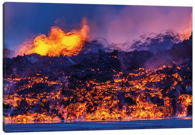 Glowing Lava Channel, Holuhraun Lava Field, Sudur-Bingeyjarsysla, Nordurland Eystra, Iceland Canvas Art Print