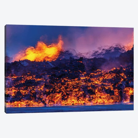 Glowing Lava Channel, Holuhraun Lava Field, Sudur-Bingeyjarsysla, Nordurland Eystra, Iceland Canvas Print #PIM14022} by Panoramic Images Canvas Art Print
