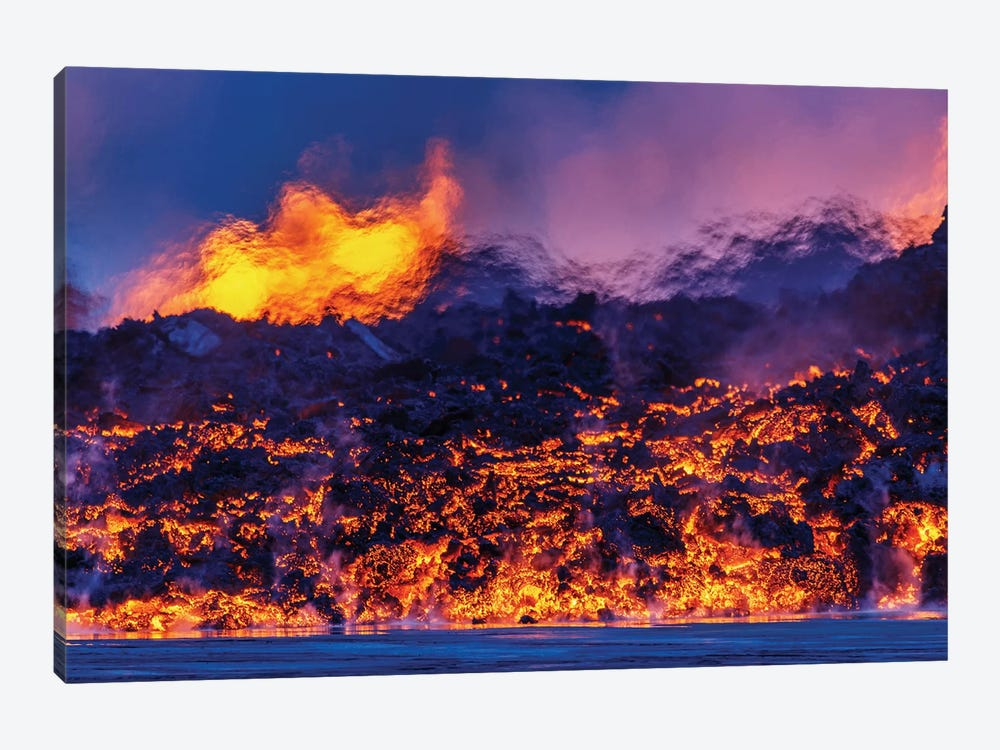 Glowing Lava Channel, Holuhraun Lava Field, Sudur-Bingeyjarsysla, Nordurland Eystra, Iceland by Panoramic Images 1-piece Canvas Artwork