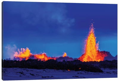Eruption Fissure Splatter Fountains II, Holuhraun Lava Field, Sudur-Bingeyjarsysla, Nordurland Eystra, Iceland Canvas Art Print