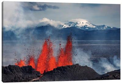 Eruption Fissure Splatter Fountains III, Holuhraun Lava Field, Sudur-Bingeyjarsysla, Nordurland Eystra, Iceland Canvas Art Print
