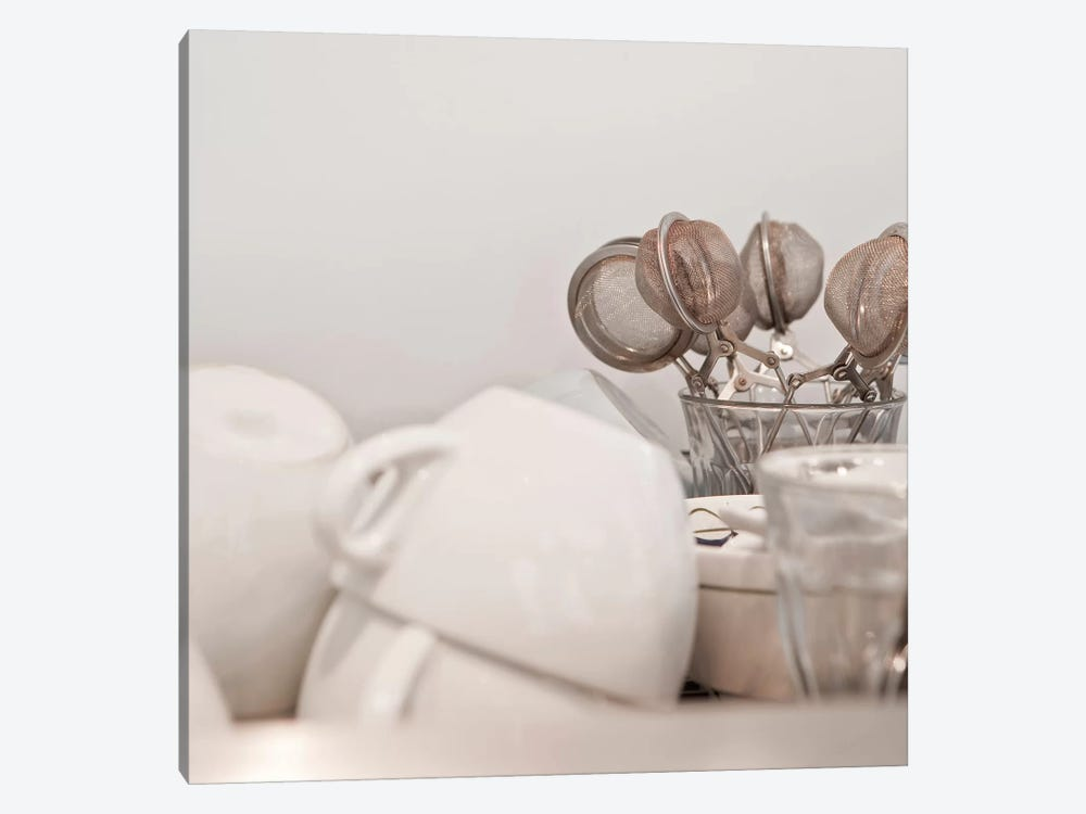 Tea Cups and Strainers by Panoramic Images 1-piece Canvas Artwork