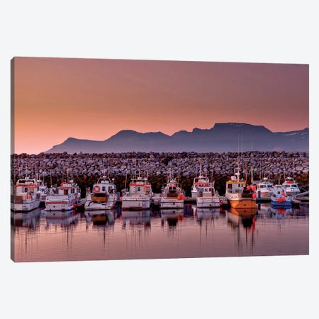 Docked Boats, Olafsvik, Snaefellsnes Peninsula, Vesturland, Iceland Canvas Print #PIM14035} by Panoramic Images Art Print