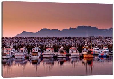 Docked Boats, Olafsvik, Snaefellsnes Peninsula, Vesturland, Iceland Canvas Print #PIM14035
