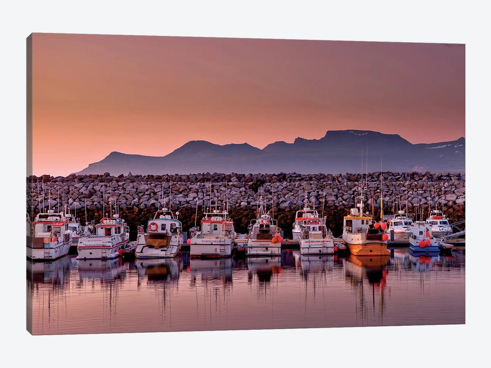 Docked Boats, Olafsvik, Snaefellsnes Peninsula, Vesturland, Iceland 1-piece Canvas Wall Art