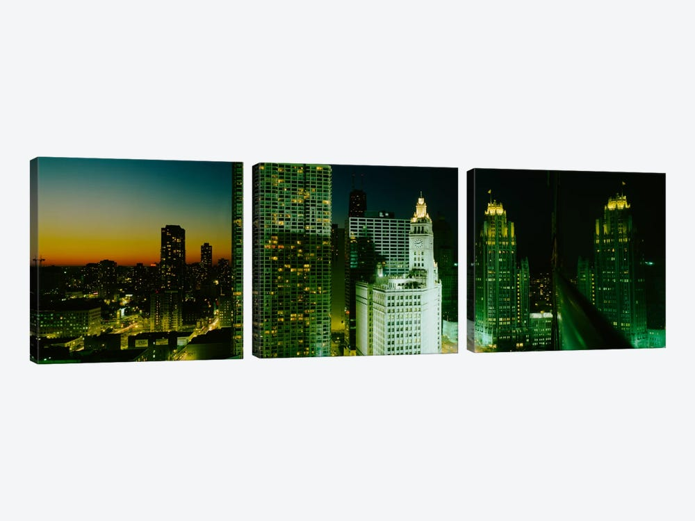 Night Chicago IL USA by Panoramic Images 3-piece Canvas Art Print