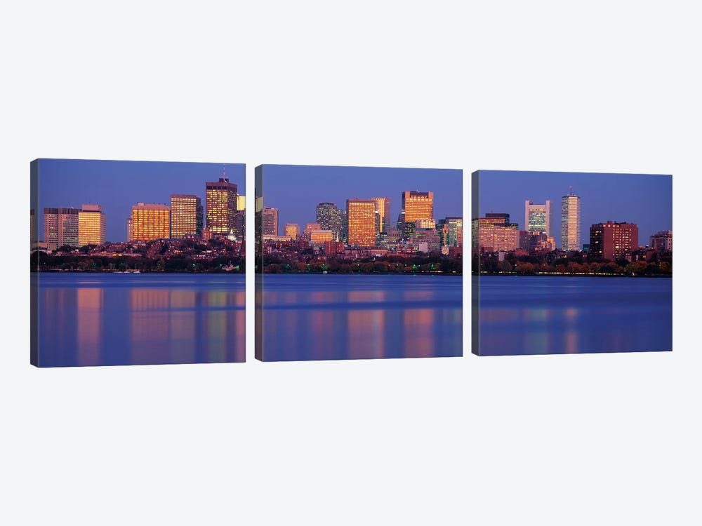 Downtown Skyline, Boston, Suffolk County, Massachusetts, USA by Panoramic Images 3-piece Canvas Wall Art
