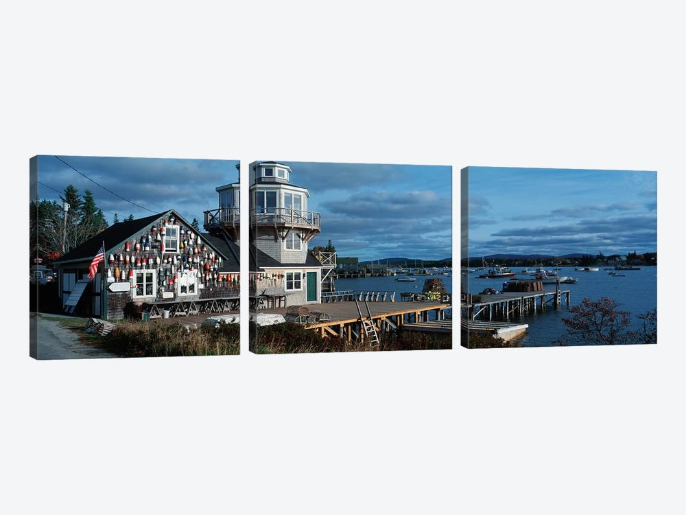 Harding Family Wharf, Bass Harbor, Hancock County, Maine, USA by Panoramic Images 3-piece Canvas Art