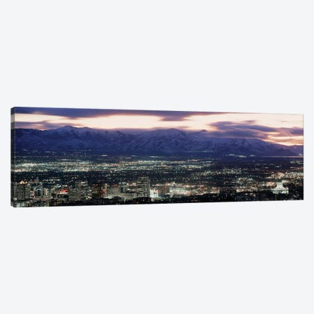Downtown Skyline at Night, Salt Lake City, Salt Lake County, Utah, USA Canvas Print #PIM14064} by Panoramic Images Canvas Art