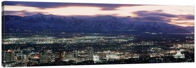 Downtown Skyline at Night, Salt Lake City, Salt Lake County, Utah, USA Canvas Art Print