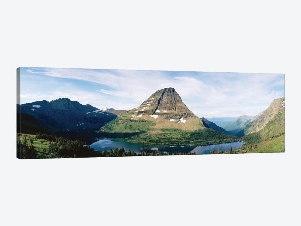 Bearhat Mountain and Hidden Lake, Lewis Range, Rocky Mountains, Glacier National Park, Flathead County, Montana, USA by Panoramic Images 1-piece Canvas Print