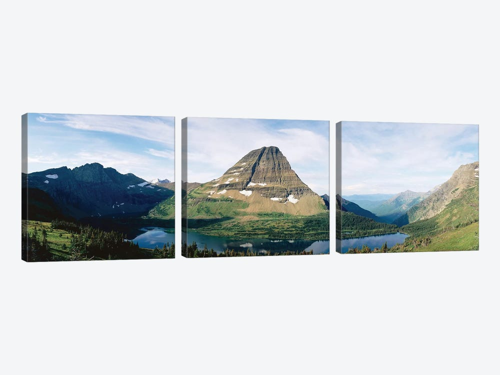 Bearhat Mountain and Hidden Lake, Lewis Range, Rocky Mountains, Glacier National Park, Flathead County, Montana, USA by Panoramic Images 3-piece Canvas Art Print
