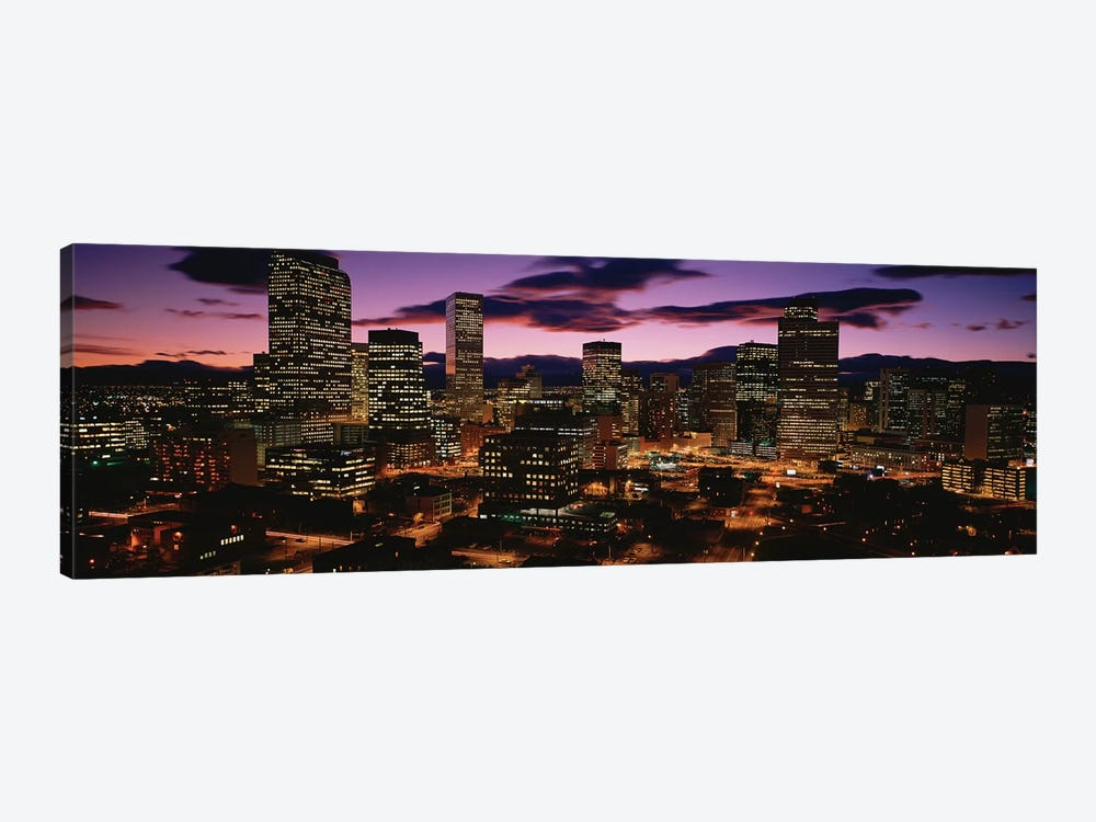 Downtown Skyline at Dusk, Denver, Denver County, Colorado, USA by Panoramic Images 1-piece Canvas Art