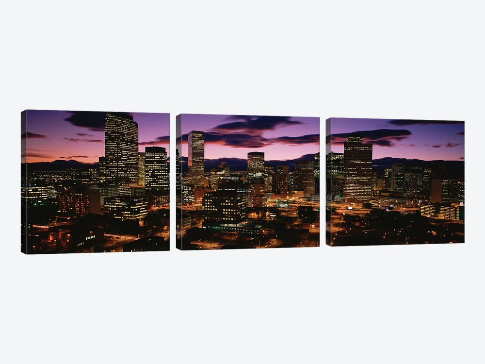 Downtown Skyline at Dusk, Denver, Denver County, Colorado, USA by Panoramic Images 3-piece Canvas Art