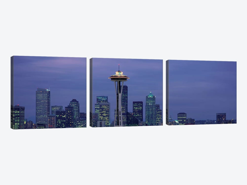 Downtown Skyline at Dusk, Seattle, King County, Washington, USA by Panoramic Images 3-piece Canvas Print