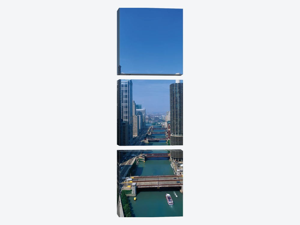 Chicago River I, Chicago, Cook County, Illinois, USA by Panoramic Images 3-piece Canvas Print