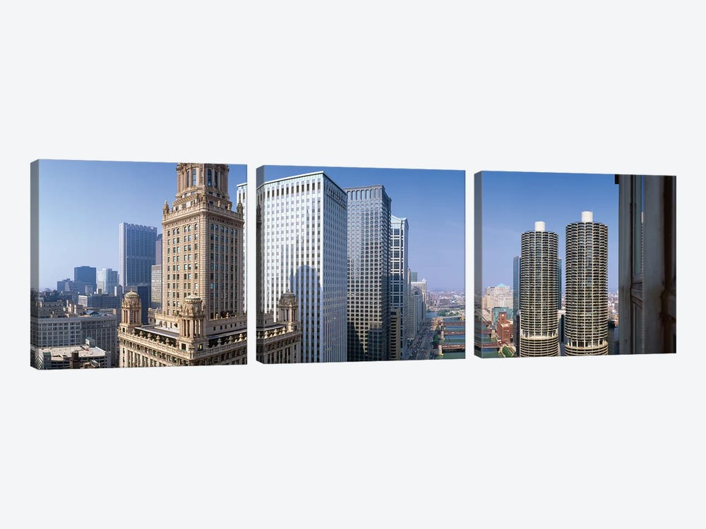 Chicago River II, Chicago, Cook County, Illinois, USA by Panoramic Images 3-piece Canvas Art Print
