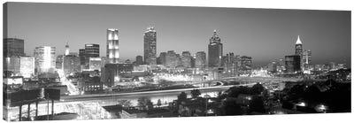 Downtown Skyline in Greyscale, Atlanta, Fulton County, Georgia, USA Canvas Print #PIM14071