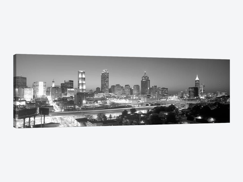 Downtown Skyline in Greyscale, Atlanta, Fulton County, Georgia, USA by Panoramic Images 1-piece Canvas Art