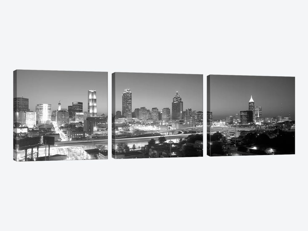 Downtown Skyline in Greyscale, Atlanta, Fulton County, Georgia, USA by Panoramic Images 3-piece Canvas Art