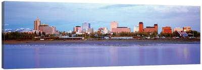 Downtown Skyline, Anchorage, South Central Region, Alaska, USA Canvas Art Print