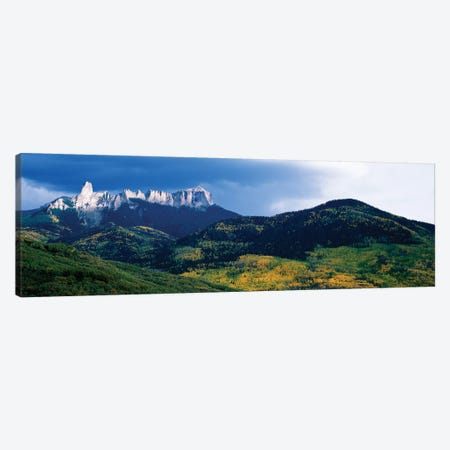 Chimney Rock and Courthouse Mountain, Cimarron Range, San Juan Mountains, Ouray County, Colorado, USA Canvas Print #PIM14092} by Panoramic Images Canvas Artwork