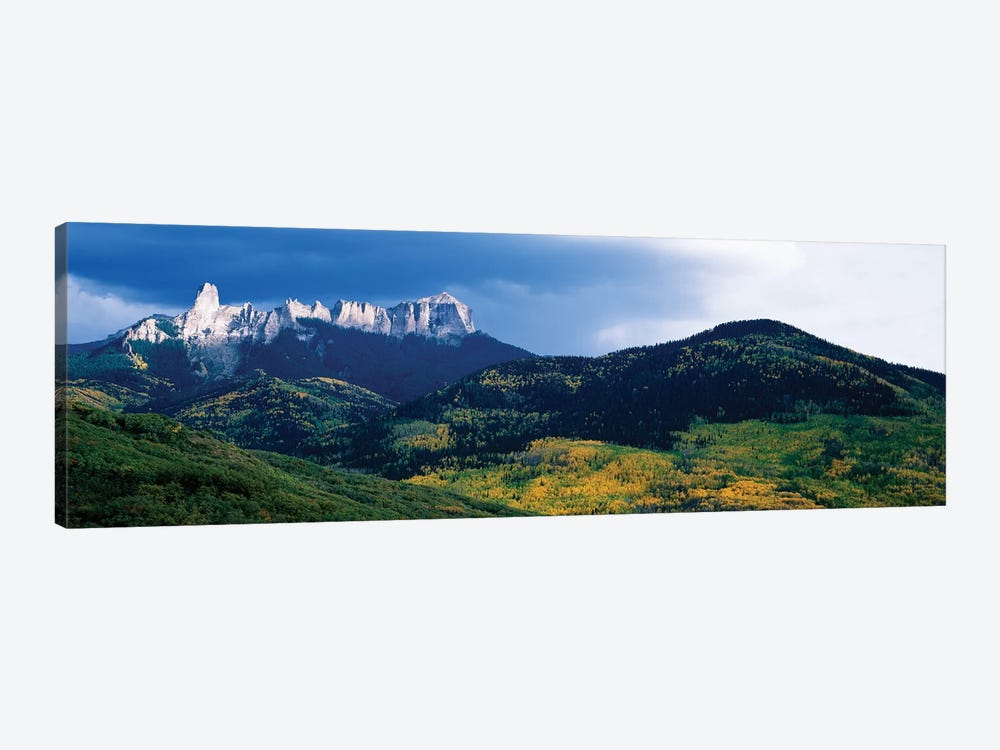 Chimney Rock and Courthouse Mountain, Cimarron Range, San Juan Mountains, Ouray County, Colorado, USA by Panoramic Images 1-piece Canvas Print