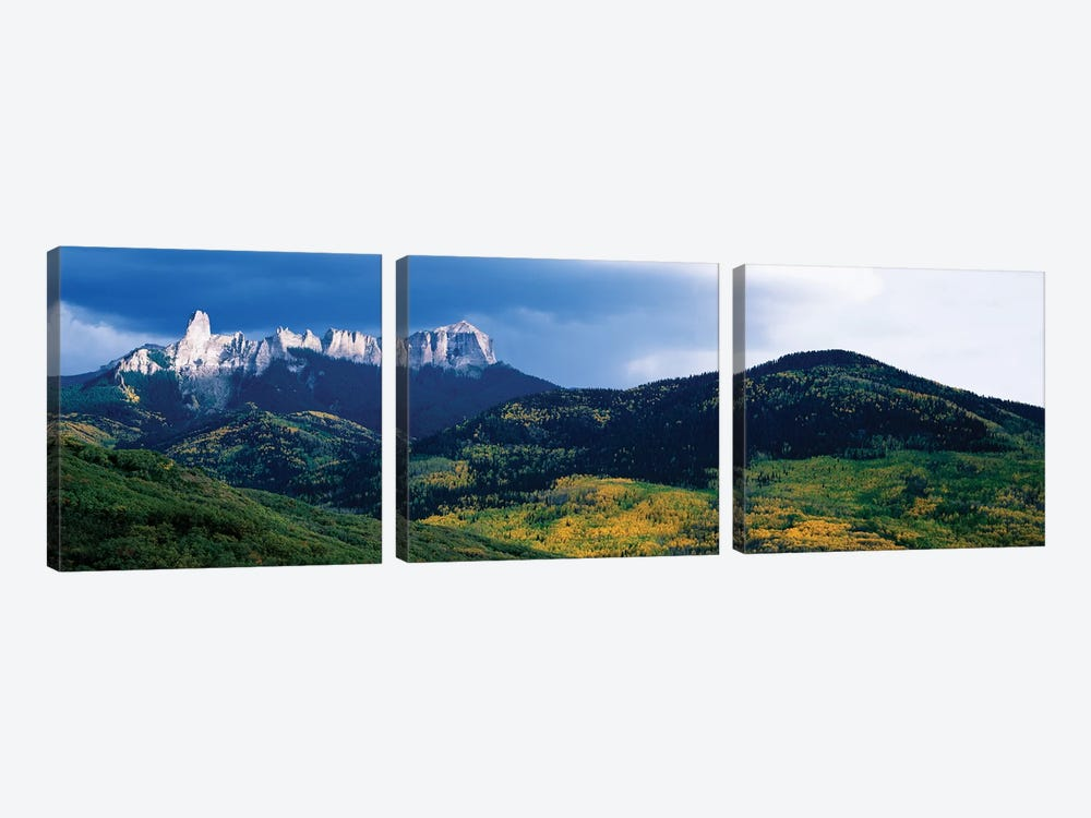 Chimney Rock and Courthouse Mountain, Cimarron Range, San Juan Mountains, Ouray County, Colorado, USA by Panoramic Images 3-piece Canvas Print