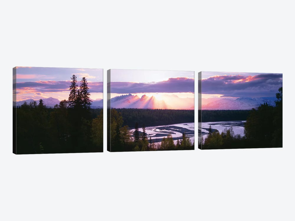 Sunset, Denali (Mt. McKinley), Alaska Range, Denali National Park and Preserve, Alaska, USA by Panoramic Images 3-piece Canvas Wall Art