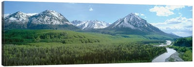 River Valley Landscape, Matanuska-Susitna (Mat-Su) Valley, Alaska, USA Canvas Art Print