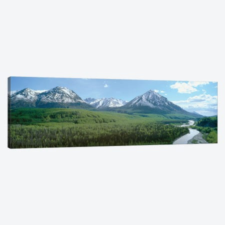 River Valley Landscape, Matanuska-Susitna (Mat-Su) Valley, Alaska, USA Canvas Print #PIM14100} by Panoramic Images Canvas Wall Art