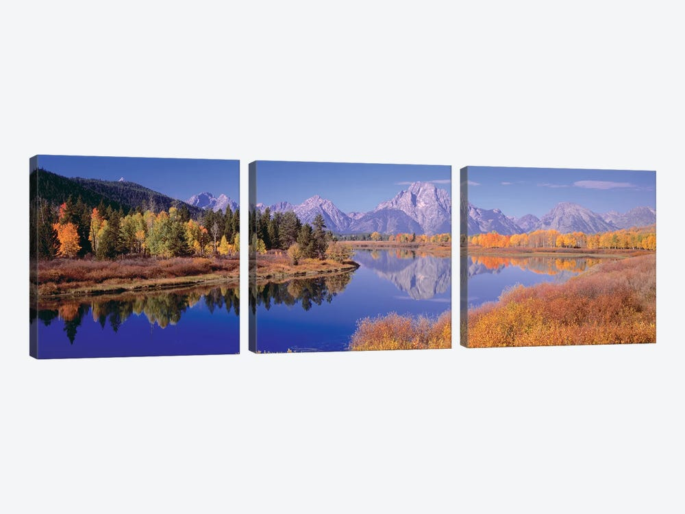 Autumn Landscape I, Teton Range, Rocky Mountains, Oxbow Bend, Wyoming, USA by Panoramic Images 3-piece Canvas Art