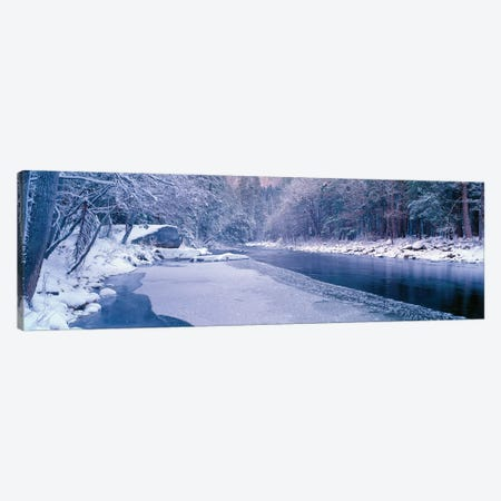 Winter Landscape, Merced River, Yosemite Valley, Mariposa County, California, USA Canvas Print #PIM14108} by Panoramic Images Canvas Artwork