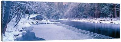 Winter Landscape, Merced River, Yosemite Valley, Mariposa County, California, USA Canvas Print #PIM14108