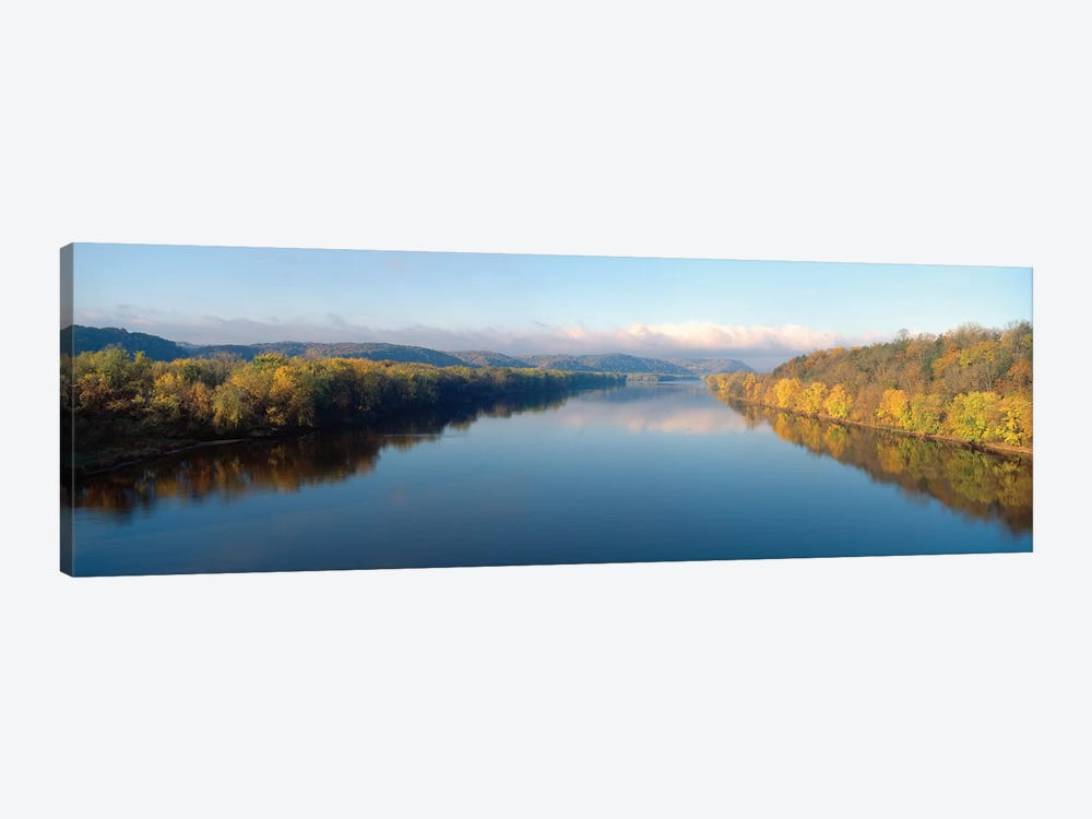 Autumn Landscape, Wisconsin River, Crawford County, Wisconsin, USA by Panoramic Images 1-piece Canvas Art