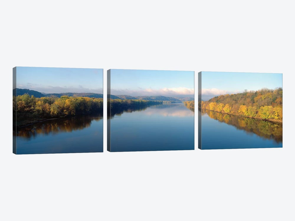 Autumn Landscape, Wisconsin River, Crawford County, Wisconsin, USA by Panoramic Images 3-piece Canvas Artwork