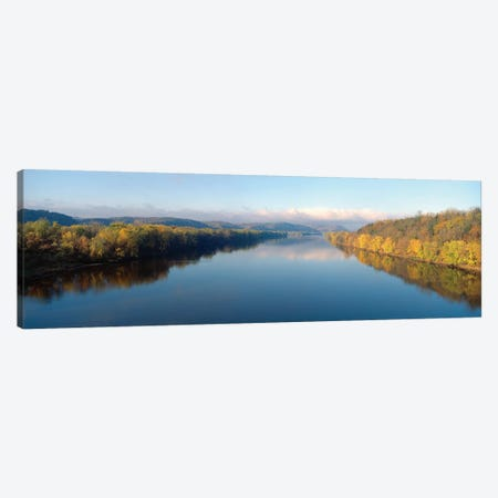 Autumn Landscape, Wisconsin River, Crawford County, Wisconsin, USA Canvas Print #PIM14110} by Panoramic Images Art Print