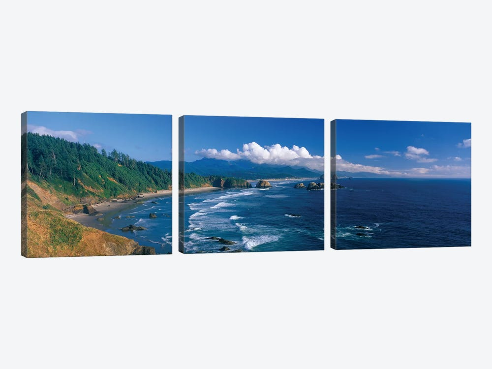Coastal Landscape, Cannon Beach, Clatsop County, Oregon, USA by Panoramic Images 3-piece Canvas Wall Art