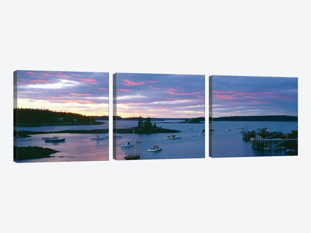 Sunset, Port Clyde Harbor (Herring Gut), St. George, Knox County, Maine, USA by Panoramic Images 3-piece Canvas Print