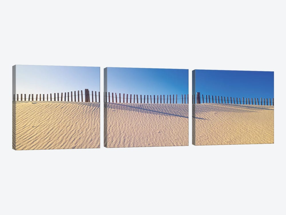 Beachfront Fencing, Santa Rosa Island, Florida, USA 3-piece Canvas Art