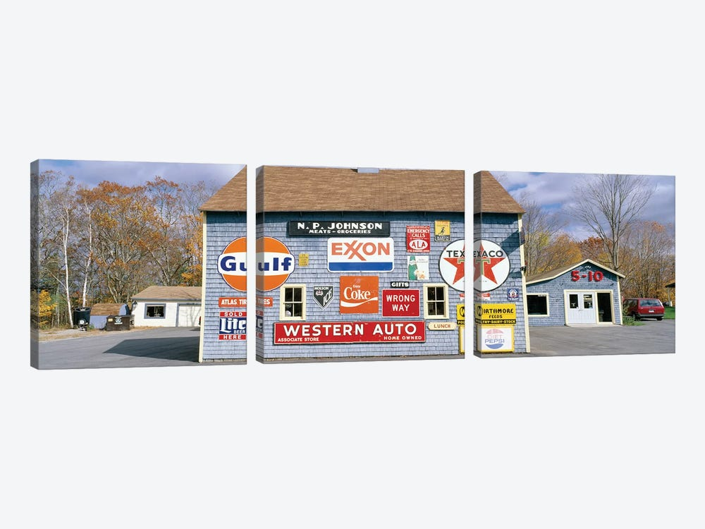 Exterior of Love Barn Antique Stove & Heater, Orland, Hancock County, Maine, USA by Panoramic Images 3-piece Canvas Wall Art
