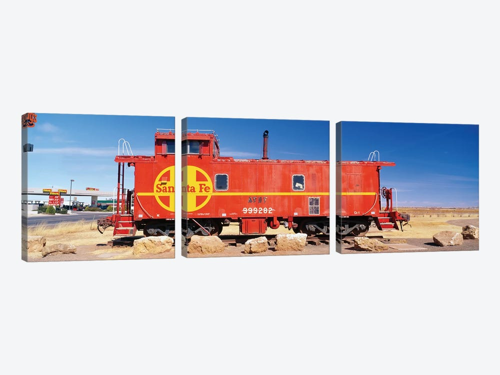 Red Atchison-Topeka-Santa Fe Railway (ATSF) Caboose, Visitors Center Display, Winslow, Navajo County, Arizona, USA by Panoramic Images 3-piece Canvas Wall Art