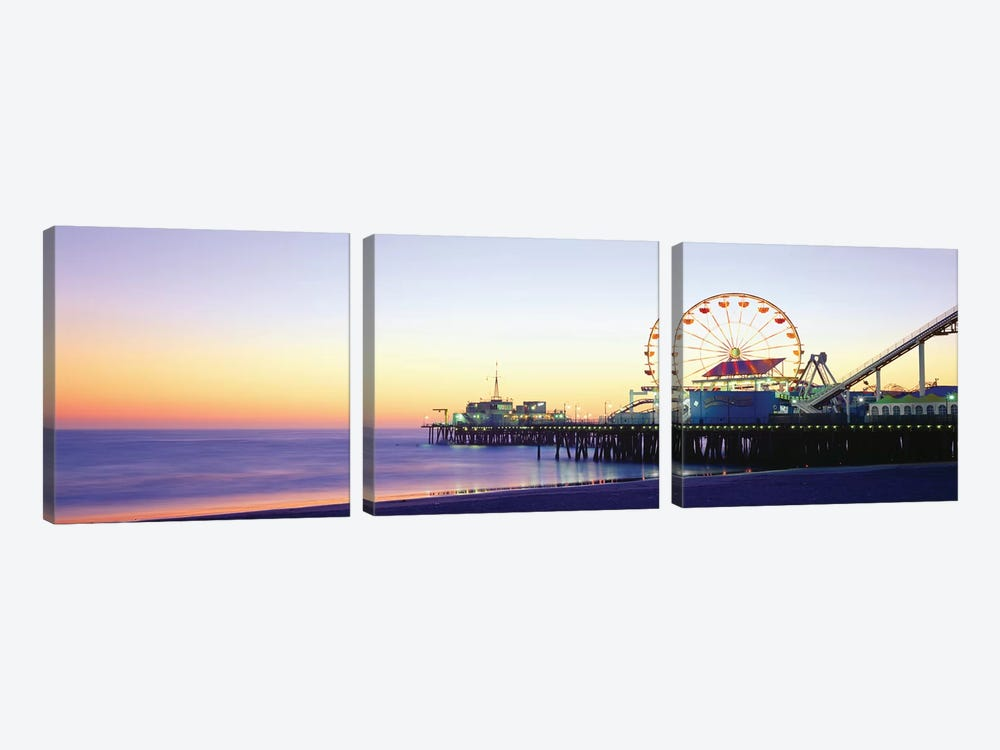 Santa Monica Pier, Santa Monica, Los Angeles County, California, USA by Panoramic Images 3-piece Canvas Artwork