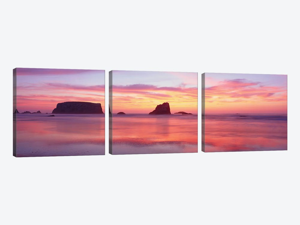Coastal Rock Formations, Bandon, Coos County, Oregon, USA by Panoramic Images 3-piece Canvas Art