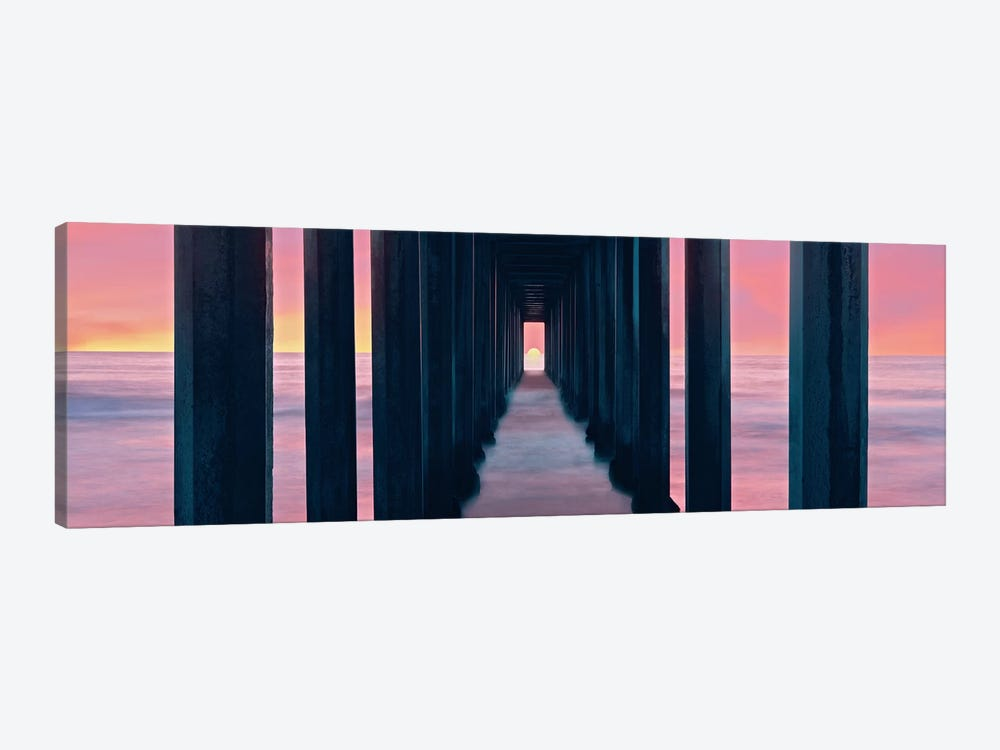 Sunset, Beneath Scripps Pier, La Jolla, San Diego, San Diego County, California, USA by Panoramic Images 1-piece Canvas Wall Art